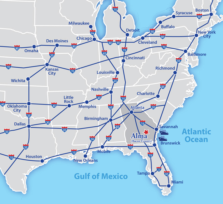 Map Of Jesup Georgia.Bacon County Eda Maps Logistics